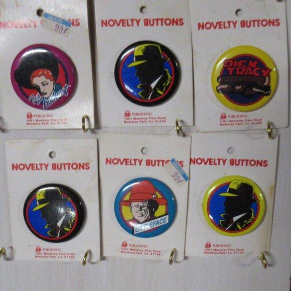 6 Dick Tracy Pinback Buttons NOC  Jess Trueheart +